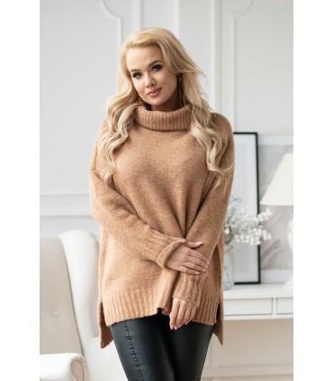 Karmelowy ciepły sweter-tunika z golfem ze ściągaczem - LESCA