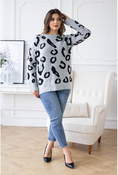sweterek w cętki szary xxl