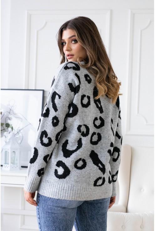 Szary sweterek w lamparcie cętki - ALESSIA