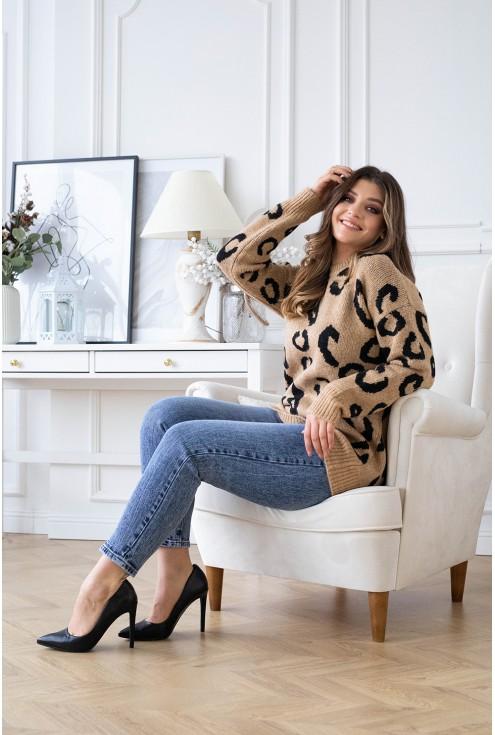 Karmelowy sweterek w lamparcie cętki - ALESSIA