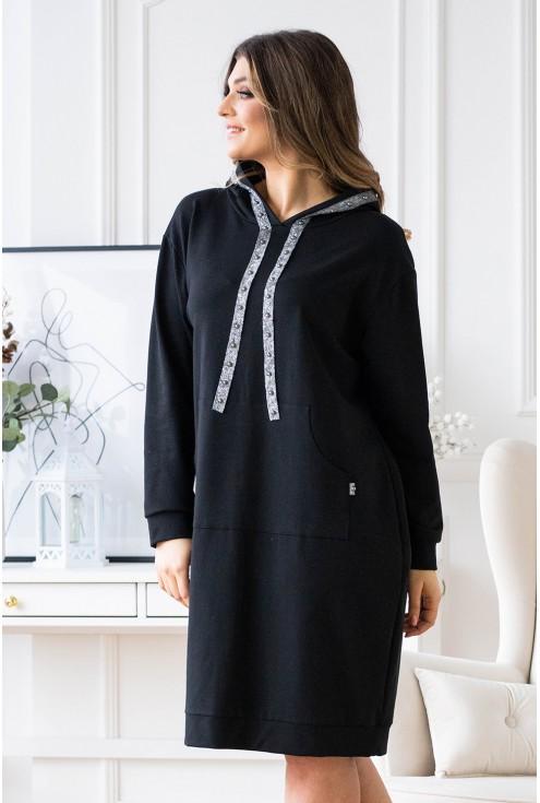 Czarna sukienka dresowa ze srebrną tasiemką - MARTINA