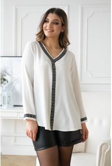biało kremowa bluzka wizytowa z wzorem