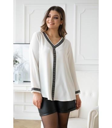 Kremowa trapezowa bluzka z ozdobnymi taśmami - EVI