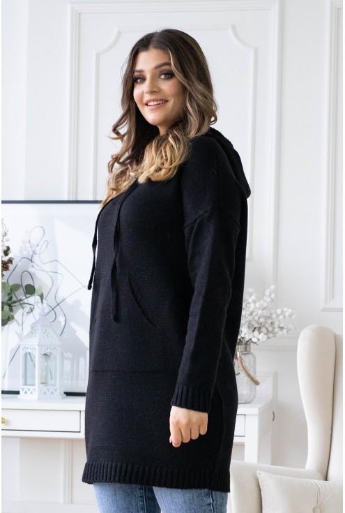 czarny sweter z kapturem długi