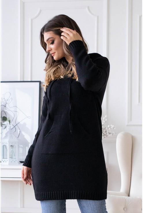 czarny długi sweterek plus size xxl