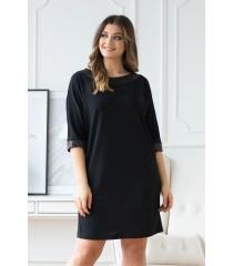 Czarna sukienka z taśmą z cekinami - OLIA