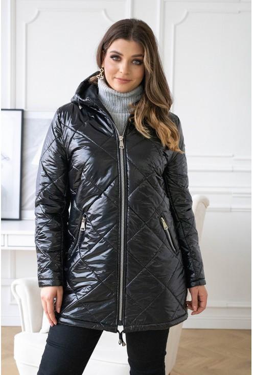 czarna pikowana kurtka plus size xxl