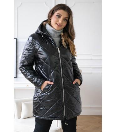 Czarna połyskująca pikowana kurtka z kapturem - LESITIA