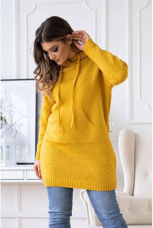 miodowy sweter z kapturem plus size