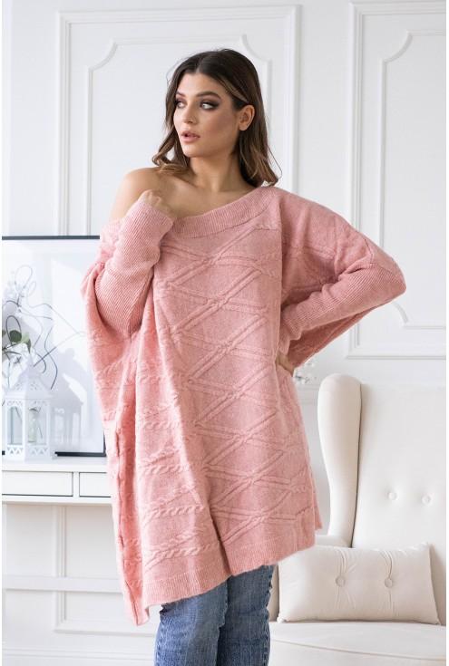 sweter plus size pudrowy xxl