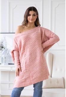 długi pudrowy sweterek plus size
