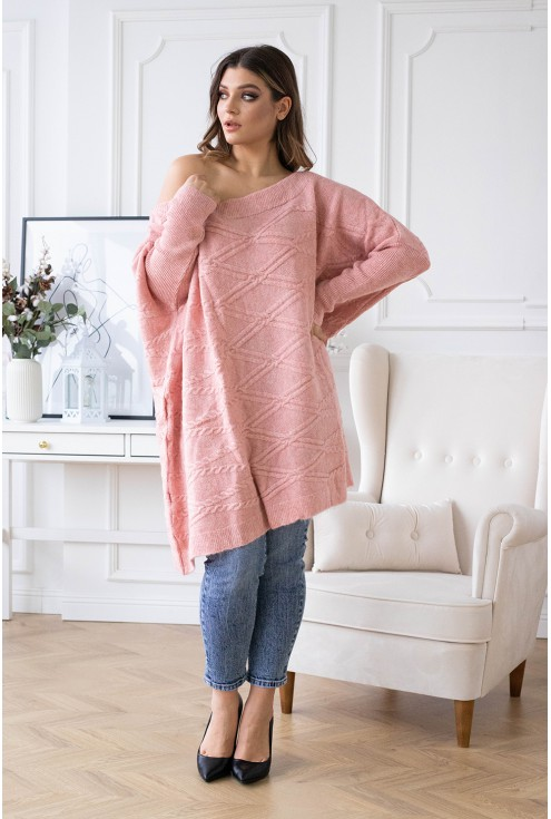 Duży pudrowy sweter oversize - PAOLA