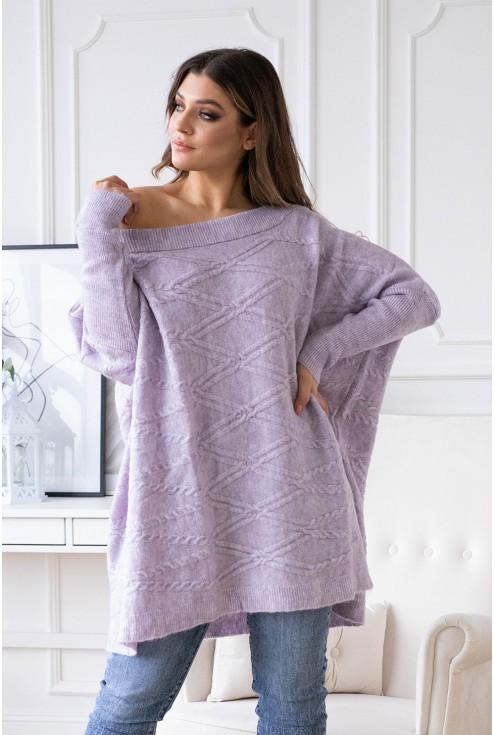 długi fioletowy sweter oversize xxl