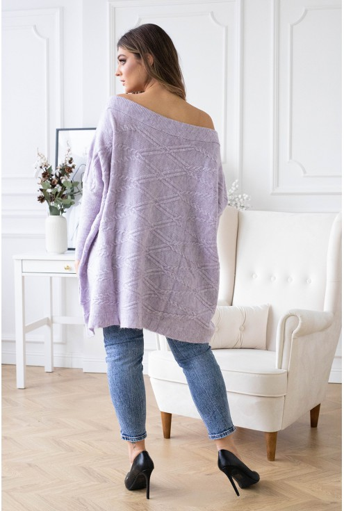 Duży fioletowy sweter oversize - PAOLA