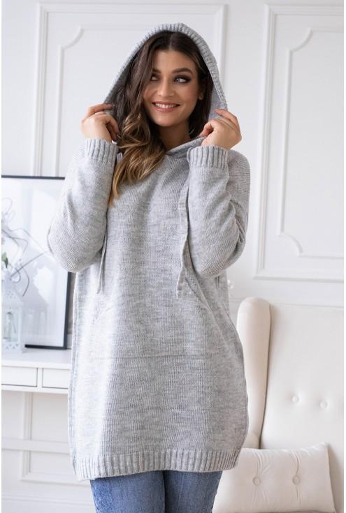 jasno szary sweterek z kapturem permi plus size