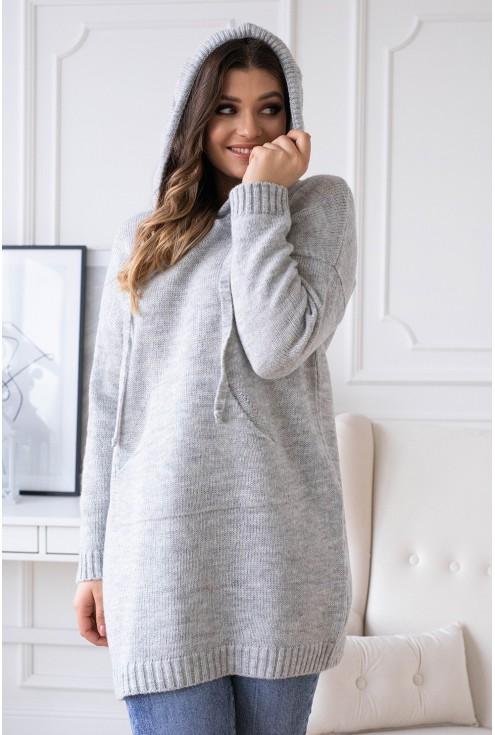 jasno-szary sweterek z kapturem permi xxl