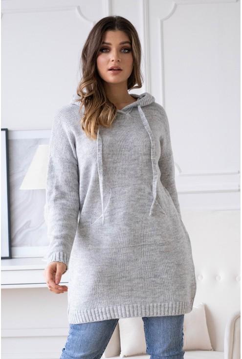 przód jasny szary sweterek xxl
