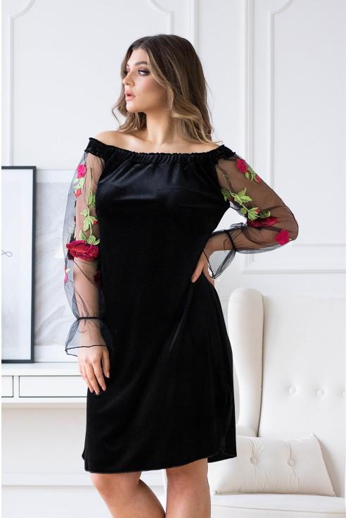 czarna welurowa sukienka hiszpanka z koronką xxl
