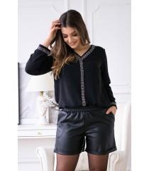 Czarna trapezowa bluzka z ozdobnymi taśmami - EVI