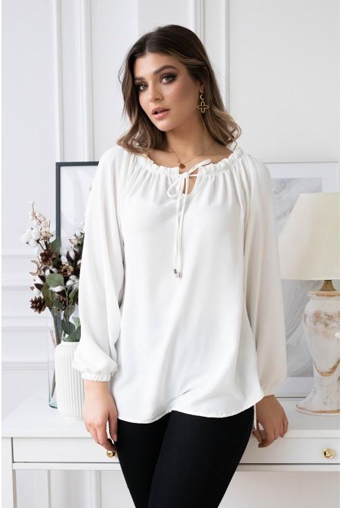 biała bluzka z wiązaniem xxl