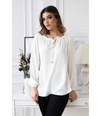 Kremowo - biała bluzka z wiązaniem na dekolcie - VIOLET