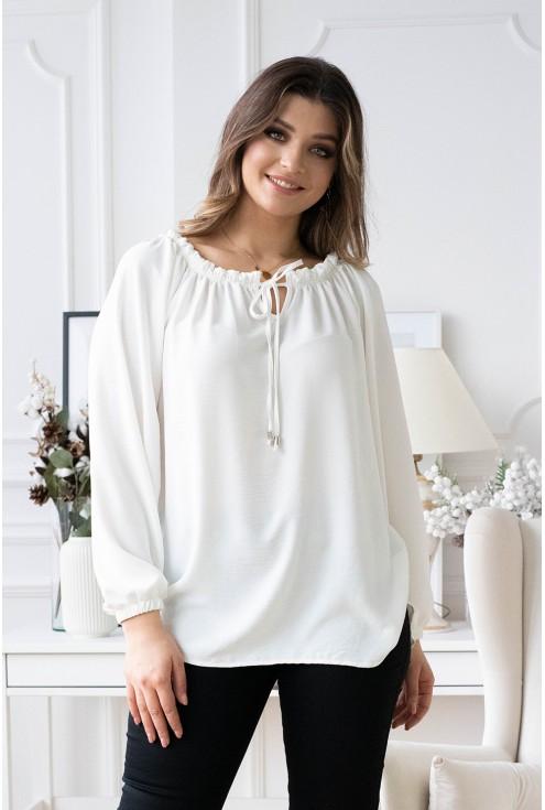 biała bluzka z wiązaniem size plus