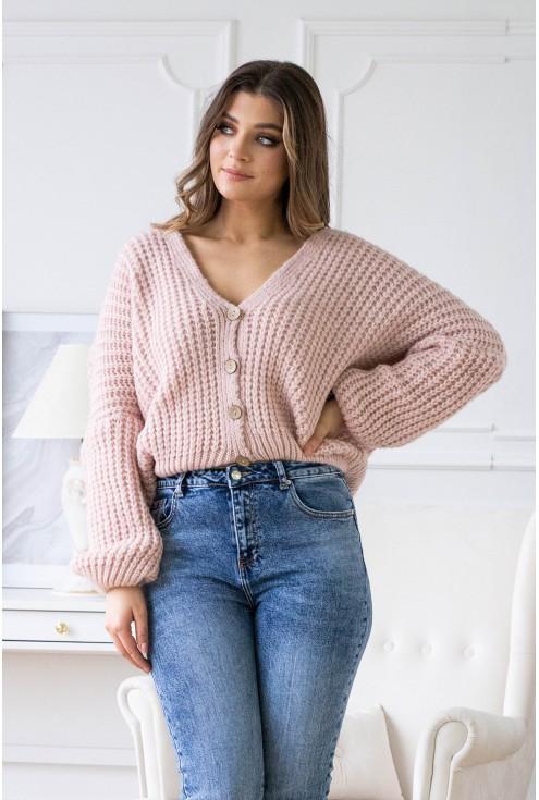 Pudrowy rozpinany sweterek