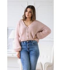 Pudrowy rozpinany sweterek z guzikami - VITTORIA