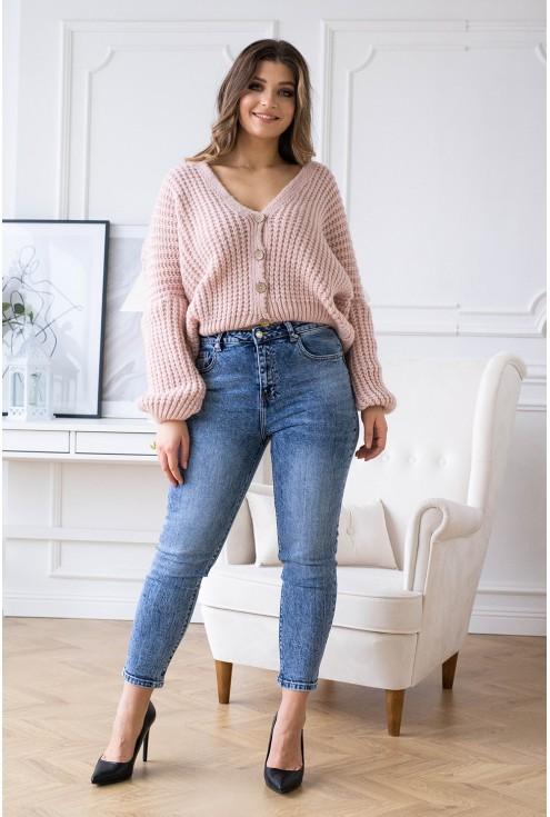 Pudrowy rozpinany sweterek xxl