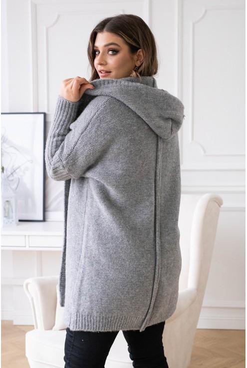 Ciepły długi sweter z kapturem