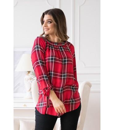 Czerwona bluzka hiszpanka w biało-czarną kratę - CARLOTTA