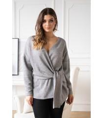 Szary sweter z kopertowym dekoltem ze srebrną nitką - KEIRA