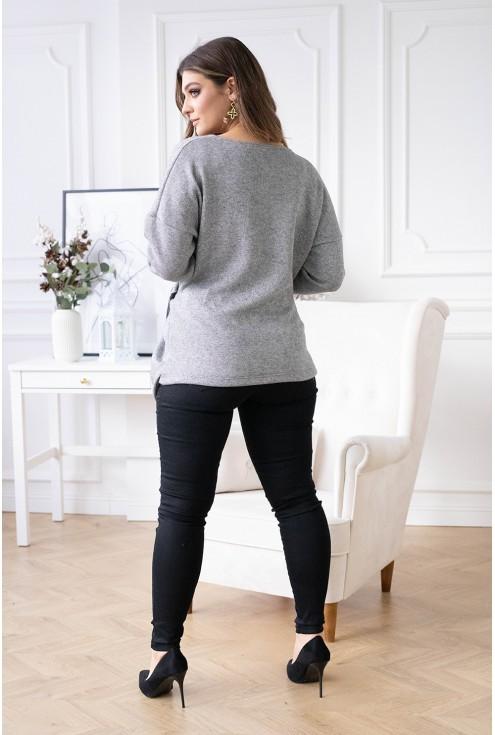 Szary ciepły sweter Keira duże rozmiary
