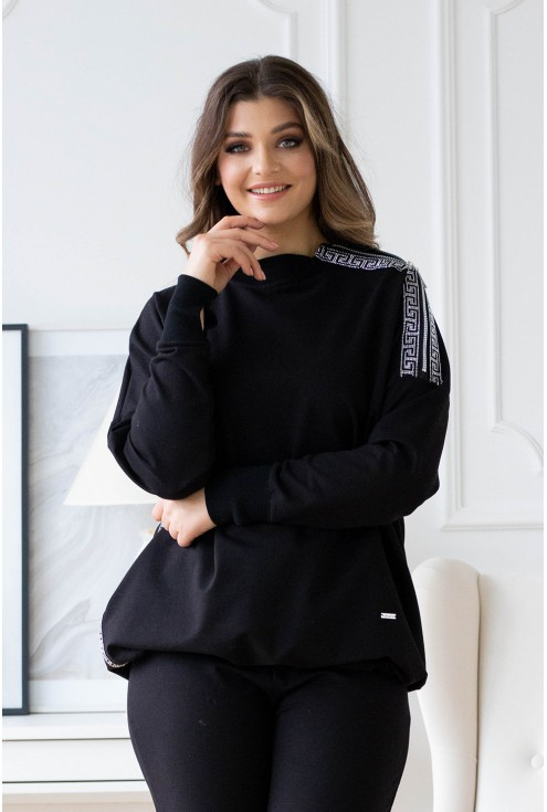Czarna bluza z lampasem na ramieniu