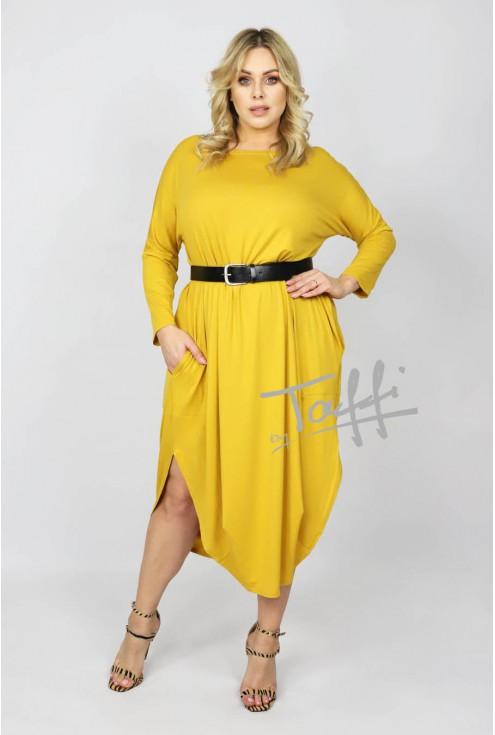 cytrynowa sukienka plus size JAJKO z dodatkiem angory