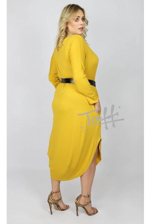 tył cytrynowej sukienki plus size