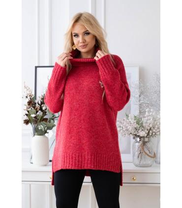 Czerwony/malinowy ciepły sweter-tunika z golfem ze ściągaczem - LESCA