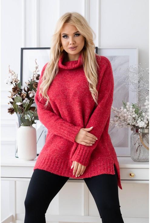 czerwony sweter z golfem xxl