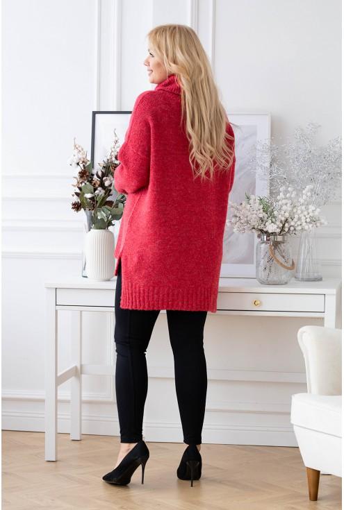 tył czerwonego sweterka plus size xxl