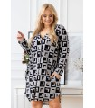 Biało-czarna sukienka w modny wzór - CHIARA
