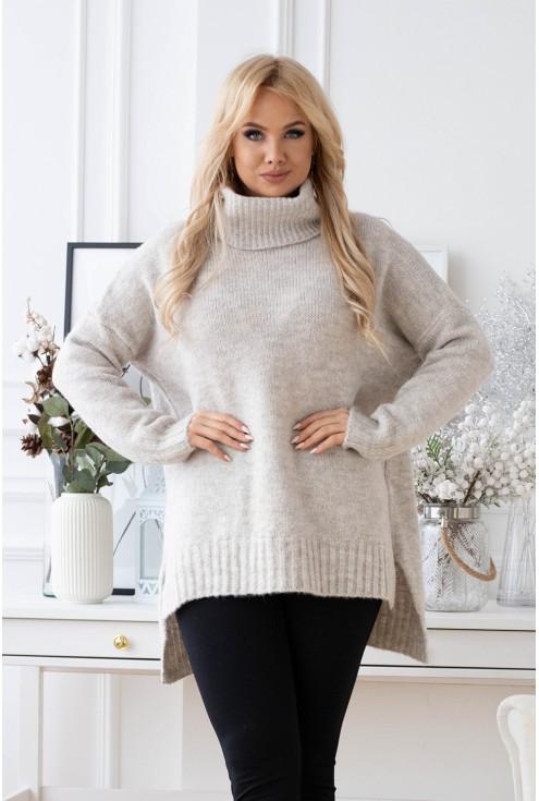 sweterek z golfem plus size kość słoniowa