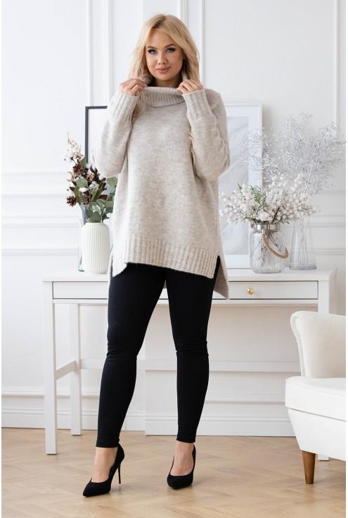 Kość słoniowa ciepły sweter-tunika z golfem ze ściągaczem - LESCA