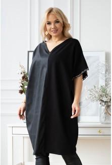czarna sukienka z eco skórą