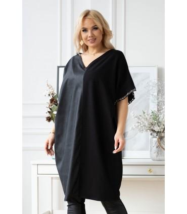 Czarna tunika-sukienka z eko skórą i ozdobną taśmą przy rękawach - VESTI