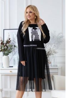 czarna sukienkta z tiulowym dołem flip