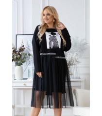 Czarna sukienka z tiulowym dołem i naszywką z przodu - FLIP