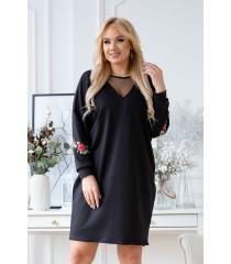 Czarna sukienka z ozdobnymi naszywkami - ROXANE