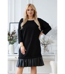 Czarna sukienka od L do 3XL ze skórkową falbanką na dole - INES