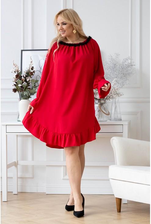 Czerwona sukienka Renel w dużych rozmiarach