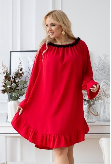 Czerwona sukienka hiszpanka z czarną falbanką